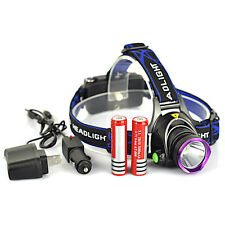 5000LM LED Rechargeable Headlight Head Lamp + 2x 18650 Battery + Charger