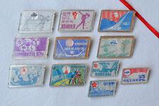 USSR Lenticular Badge Lot of 11 Russian Pins Soviet 3D stereo cartoon sport VTG