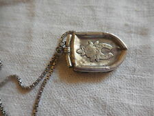 JEWELLERY ANTIQUE HALLMARKED SILVER LOCKET WITH HORSESHOE OPENS UP