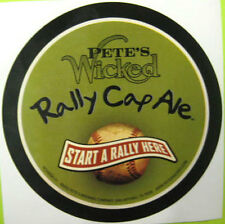 PETE'S WICKED RALLY CAP ALE Beer STICKER Label with BASEBALL, San Antonio, TEXAS