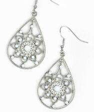 Paparazzi Earrings ~ A Flair for Fabulous ~ White Beads in Silver Teardrop Boho