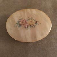 "Alabaster Italy Rose Motif handmade vintage 3"" trinket Box jewelry ring holder"