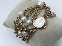 Anne Klein Diamond Women Watch Double Wrap Faux Peal Chain Bracelet MOP Face