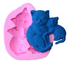 Cats Kittens Silicone Mold for Fondant, Gum Paste, Chocolate, Crafts NEW