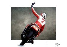 BARRY SHEENE LEGENDARY MOTOGP WORLD CHAMP ICONIC CANVAS ART A3
