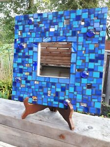 Blue stained glass mosaic mirror