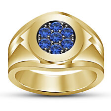 14K Yellow Gold Over Round Blue Sapphire Wedding Band Engagement Mens Pinky Ring