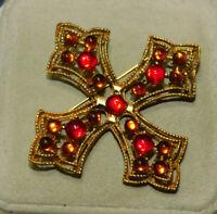 Vintage Maltese Cross Gold Red Rhinestone Brooch Pin 3k 83