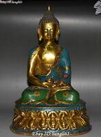 "12"" Cloisonne Enamel Gild Sakyamuni Shakyamuni Amitabha Tathagata Buddha Statue"