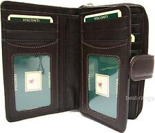 Visconti Ladies Purse Soft Leather Wallet Brown 16 Cards New in Gift Box HT33