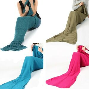 Kid/Adult  Mermaid Tail Blanket Handmade Knitted Sofa Crocheted Quilt Buttontype