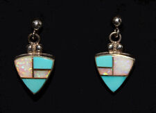 Zuni Inlay Turquoise / Opal and Sterling Silver Post Dangle Earrings