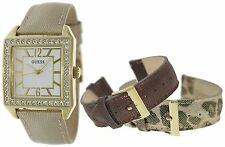 NEW GUESS GOLD LADY WATCH BRONZE ANIMAL CHAMPAGNE LEATHER STRAPS BOX SET U0068L2