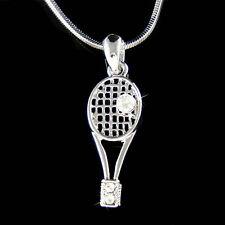 w Swarovski Crystal Sports Tennis Ball Racket racquetball Racquet Charm Necklace