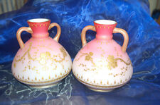 Antique Pair of Satin Glass Vases with Handles - Beautiful Pinks Blended w/Gold