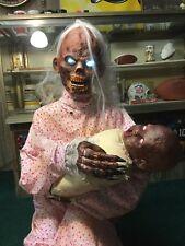 Spirit Halloween GRUESOME GRANNY ZOMBIE BABY Rare Animated Halloween Prop