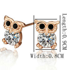Cute owl childrens kids stud earrings rose gold cz jewellery quality UK seller