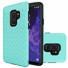 For Samsung Galaxy S9 Plus - Woven Textured Dual layer Case Cover - Teal