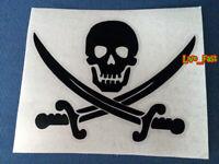 JOLLY ROGER PIRATE SKULL FLAG STICKER DECAL VINYL SALT LIFE BEACH BUM SAIL BOAT