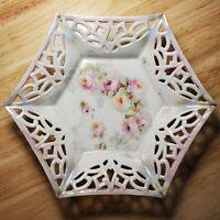 Vtg K&L Porcelain Dish Bowl Hexagon Reticulated Pierced Floral Roses S26 Germany