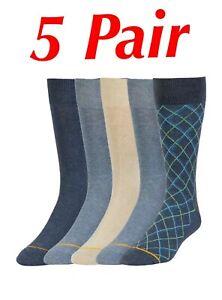 NEW! GOLD TOE Signature Men's Crew Dress Socks, 5 PAIR, Shoe Size 6-12 1/2, Lg