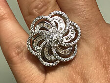 925 Silver Filled White Baguette Cluster Sapphire Flower Ring Size 9