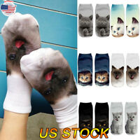 Womens Low Cut Ankle Socks Cartoon 3D Cat Printed Comfortable Funny Casual Socks
