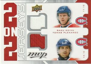 2008-09 UD MVP - 2 on 2 Jerseys #J2-KPKL KOIVU PLEKANEC KOVALEV LATENDRESSE