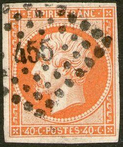 "France: 1853 Classic Napoleon 40c. 4 margins. ""Petits Chiffres"" Postmark - Used"