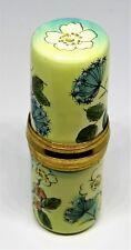 Staffordshire English Enamel Box- Floral Sewing Case -Needle Etui- Flowers - Mib