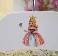 """Vintage-Like 10/"""" Infant Child/'s Wooden Painted Hanger With Decal~Shabby Roses #6"""