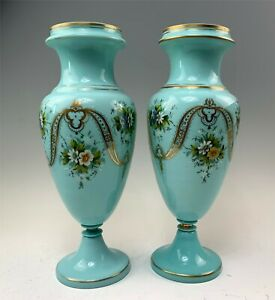 """Pair Beautiful Hand Painted French Blue Bristol Glass 15-1/4""""  Vases"""