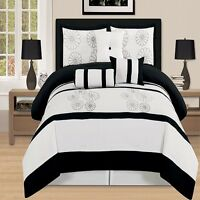 7 Pc luxury King Bed In a Bag Comforter Set black white