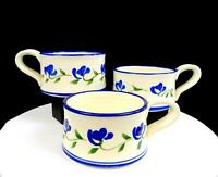 "STUDIO ART POTTERY ARTIST SIGNED WHEEL-THROWN BLUE FLORAL 3 PIECE 3"" SOUP CUPS"