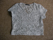 Ladies Blue cropped lace top size 8