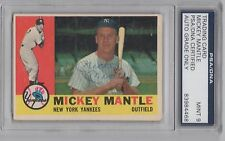 MICKEY MANTLE PSA/DNA 9 MINT CERTIFIED SIGNED 1960 TOPPS CARD #350 AUTOGRAPHED