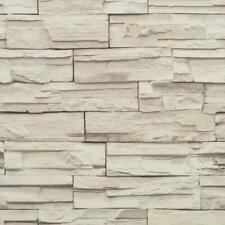 Wallpaper Faux Stacked Stone Brick Rock White Gray Heavy Duty Textured Vinyl
