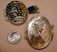 LRG Carved Shell Cameo Vintage Style White Gold Plated 3 Strand Pad Clasp FPC128