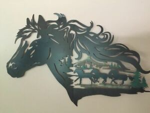 Rustic Western Horse Shadow Wall Art Cowboy Galloping Horses Evergreen Wall Art