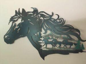 Rustic Western Horse Shadow Wall Art Cowboy Galloping Horses Evergreen Wall Art