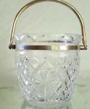 VINTAGE WATERFORD GIFTWARE  CRYSTAL ICE BUCKET W/ SILVER PLATE HANDLE RARE