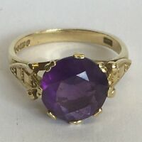 Vintage Solid 9ct Gold Amethyst Large Single Stone Cocktail Dress Ring Size M1/2
