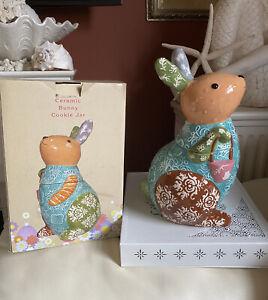 NEW Cracker Barrel Easter Bunny Rabbit Ceramic Cookie Jar Retired RARE Canister