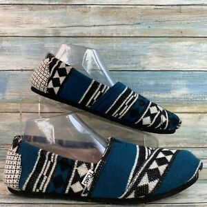 Toms Womens Blue Tribal Southwestern Print Slippers Faux Fur Lining Size 10M