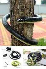 Realistic Rubber Black Mamba Fake Snake Toy 52 Inch Long Deter Birds And Rodents