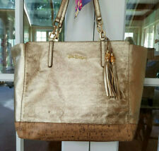 Lilly Pulitzer Tote Bag Gold Metallic Leather Cork Bamboo Tassel 15046