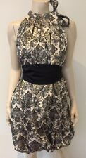 Bnwt Stunning Navy Cream Gold Brocade Dress Bubble Hem Party Occasion Outfit 12