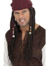 Brown Pirate Plaited Wig & Scarf Adult Mens Smiffys Fancy Dress Costume