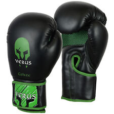 Verus Black/Green Boxing Gloves Synthetic Leather Sizes 8oz 10oz 12oz 14oz 16oz