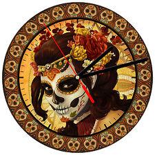 """8"""" WALL CLOCK Sugar Skull 22 Dia de los Muertos Day of the Dead Halloween Tattoo"""